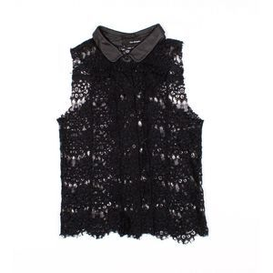 The Kooples Leather Collar Lace Tank Top